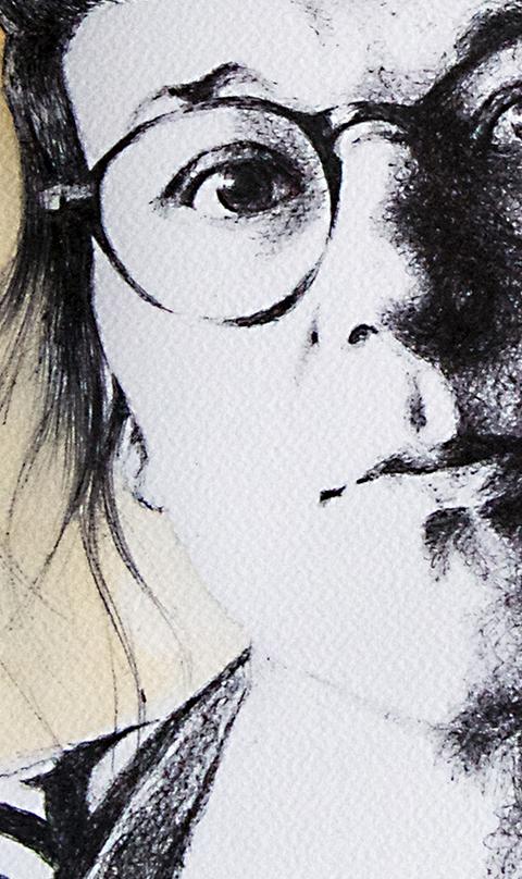 Weronika D, In Progress, 2016, ballpoint & watercolour - 2016 Portraits