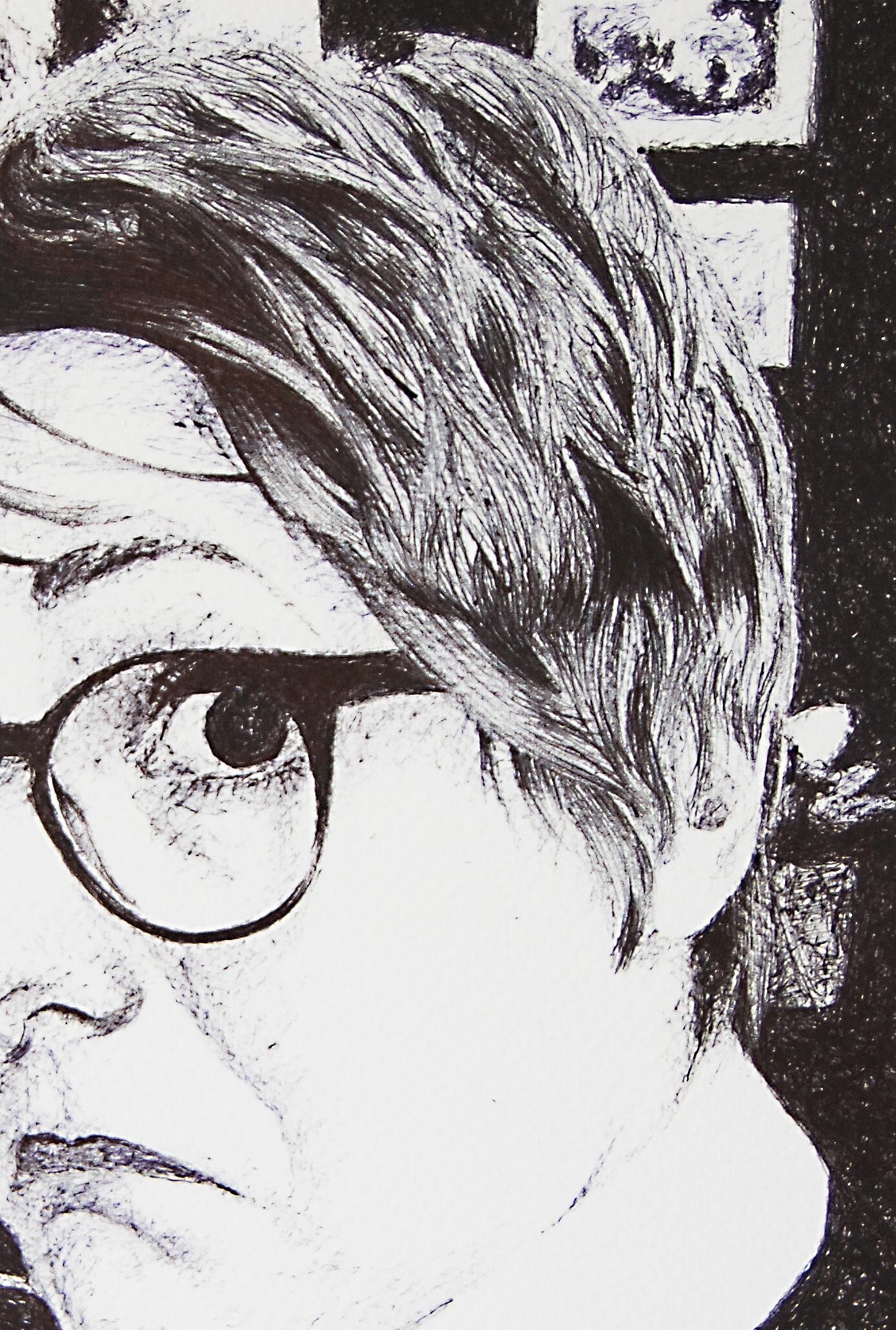 Self-Portrait, Detail, Pen & Ink, 2016